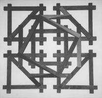 Lothar Rumold: Zweiunddreißig, 1992, Eiche (gebeizt und teilweise bemalt), 60 x 60 x 4 cm