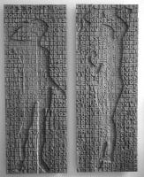 Lothar Rumold: Adam und Eva nach Lukas Cranach d. Ä., 2003, Doppel-Relief, Eiche, je 190 x 70 cm