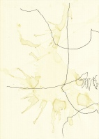Lothar Rumold, Tsamadou Beach Samos II, 2006, Tintenstift und Kaffee auf Papier, 29,7 x 21 cm