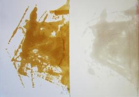 Lothar Rumold: Ohne Titel, 2014, Holzlasur auf Papier, 29,7 x 42 cm