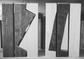 Lothar Rumold: Zweimal drei Teile, 1991, Tanne, Wachskreide, 30 x 45 x 7 cm