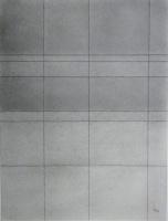 Lothar Rumold: O. T., 1996, Graphitstaub auf gefaltetem Papier, 48 x 36 cm