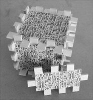 Lothar Rumold: Kleiner Würfel mit Sestine, 1998, Karton, Bleistift, Buntstift, 8 x 8 x 8 cm