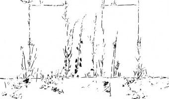 Lothar Rumold: Am Krematorium, 2018, Tablet-Zeichnung, 41:70